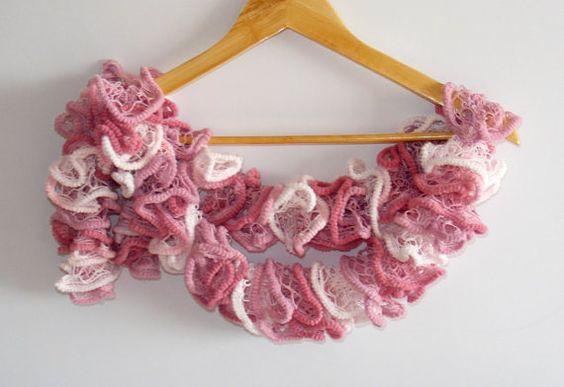 WAS 25 NOW 19  pink scarf women scarfFLAMENCO scarfruffle by seno, $19.00