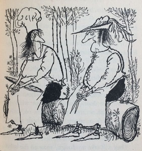 Searle's illustration from 'The 13 Clocks' by James Thurber.