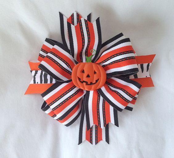 Halloween trick or treat pumpkin hair bow on Etsy, $9.00