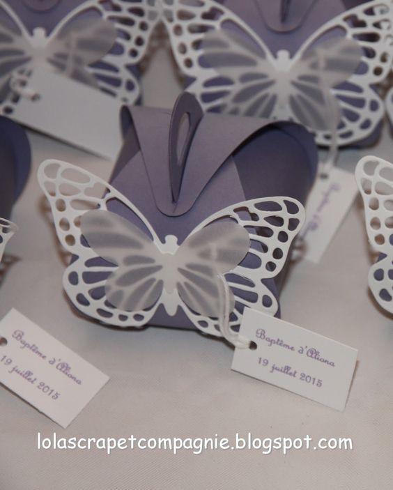 Lolascrap et compagnie: Le baptême d'Aliona : Papillons en Galante glycine et Murmure blanc
