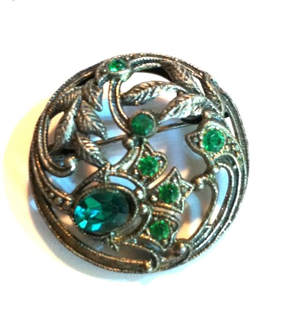 Bottle Green Glass  Art Nouveau Brooch circa Early 1900s Dorothea's Closet Vintage Jewelry