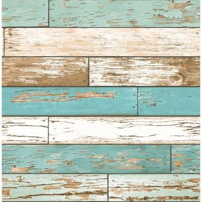 Brewster 56 sq. ft. Turquoise Scrap Wood Weathered Texture
