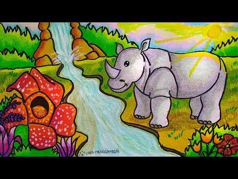 Cara Menggambar Dan Mewarnai Tema Flora Dan Fauna Langka Dan Alam Benda Yang Bagus Mudah Ep 202 Youtube Lukisan Kupu Kupu Flora Cara Menggambar