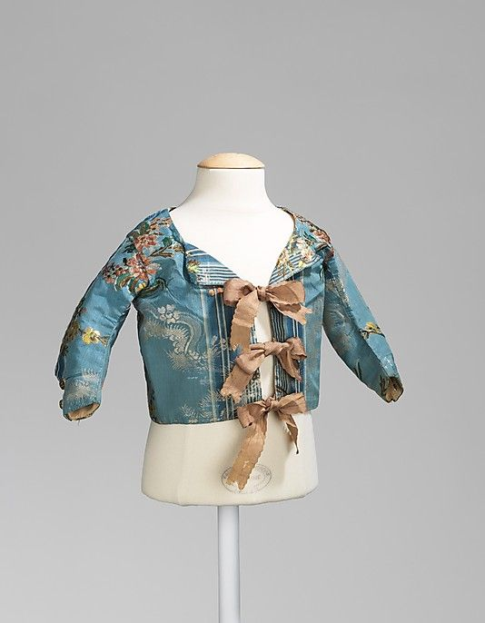 Infant's blue silk brocade bodice, by Tailleur Filles & Cie, French, 1840-1860.
