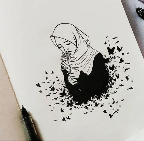 Karakalem #Başörtülü #Kadın #Çizimleri #- #Güzel #Sözler, #Başörtülü #çizimleri #Güzel #kadın #Karakalem #sözler