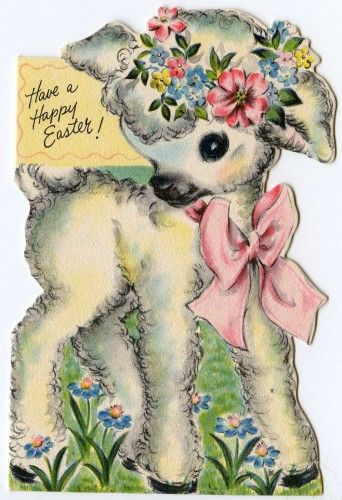 vintage Easter card - Hallmark 1949  I have a much loved book called Lolly Lamb from when I was little and she looked just like this