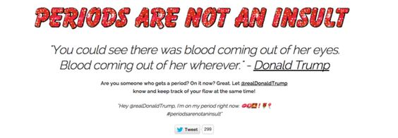 "The ""Periods Are Not An Insult"" campaign includes a website with templates for tweets — and a glittery GIF: 