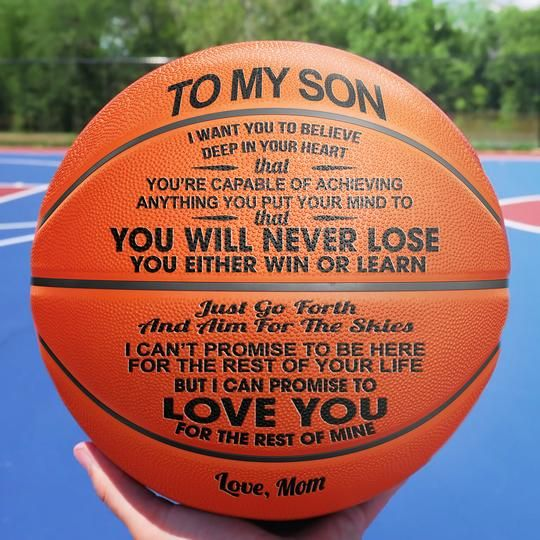 To My Son Love You From Mom Engraved Basketball Ball Gift for Your Son Anniversary Birthday Wedding Holiday Graduation Gift to Fan Quote