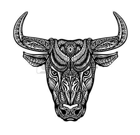 tete mexicaine: Bull, taurus painted tribal ethnic ornament. Vector illustration…