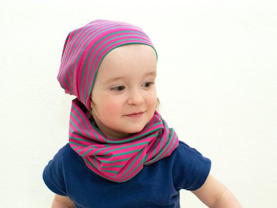 toddler beanie infinity scarf, accessories kids, set of scarf and hat for kids different colors, cotton-jersey, handmade in Dresden on Etsy, $48.57