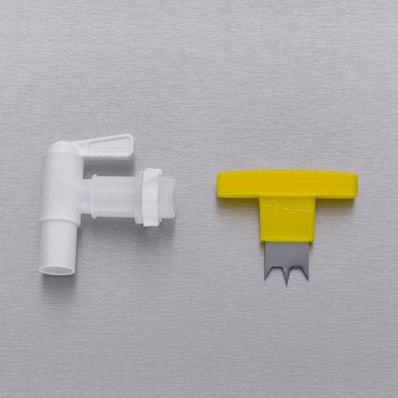 """Kunststoff Auslaufhahn mit 3/4"""" Gewinde passend für alle Regentonnen, inklusive Handbohrer für die Erstellung der Durchführung. #regentonne #zubehör #regentonnenshop www.regentonnenshop.de"""