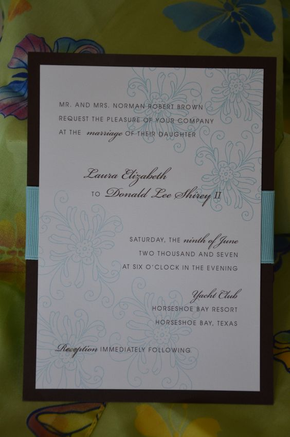 Laura and Donald wanted a botanical look to their #weddinginvitations using aqua and brown. The invitation they chose for their #Texaswedding gave them just the right feel. Playing a bit with the font and format made this invitation more interesting. It's harder to do but well worth the effort.Let our designers create something for you. Give us a call at 512.323.0600. This family business of mother & 2 daughters began in 1987! #austinweddinginvitations #AustinSaveThedates