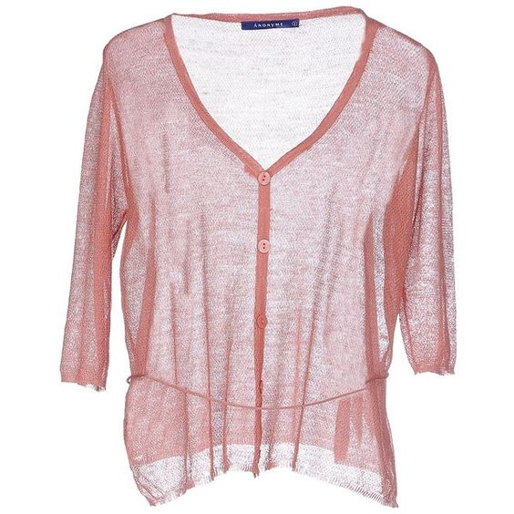 Anonyme Designers Cardigan ($70) ❤ liked on Polyvore featuring tops, cardigans, pastel pink, v-neck tops, v neck cardigan, lightweight cardigan, 3/4 sleeve v neck cardigan and three quarter sleeve cardigan