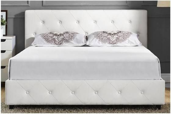 Oversized Short Tufted Bed Frame Leather Bed Frame Leather
