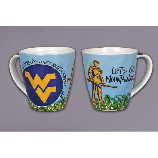 Start Your Morning The Mountaineer Way With Our Colorful Hand Painted Ceramic Mug Featuring The Wvu Mountaineer Mugs Hand Painted Ceramics Artwork