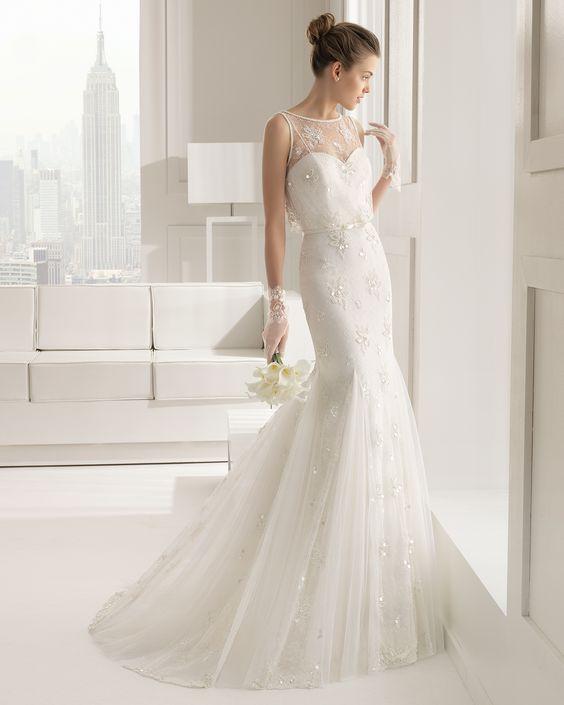 SENEGAL - Kleid aus Chantilly-Spitze mit Strassbordüre und Stras... - ROSA CLARA