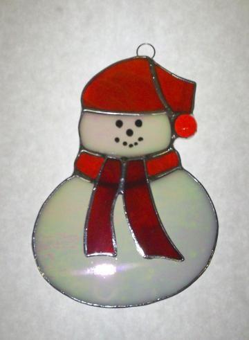 Red Hat Snowman Sun Catcher