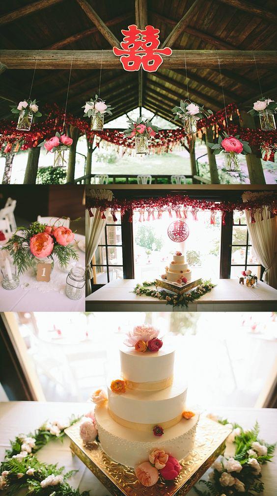 oregon chinese tea ceremony wedding pink decor