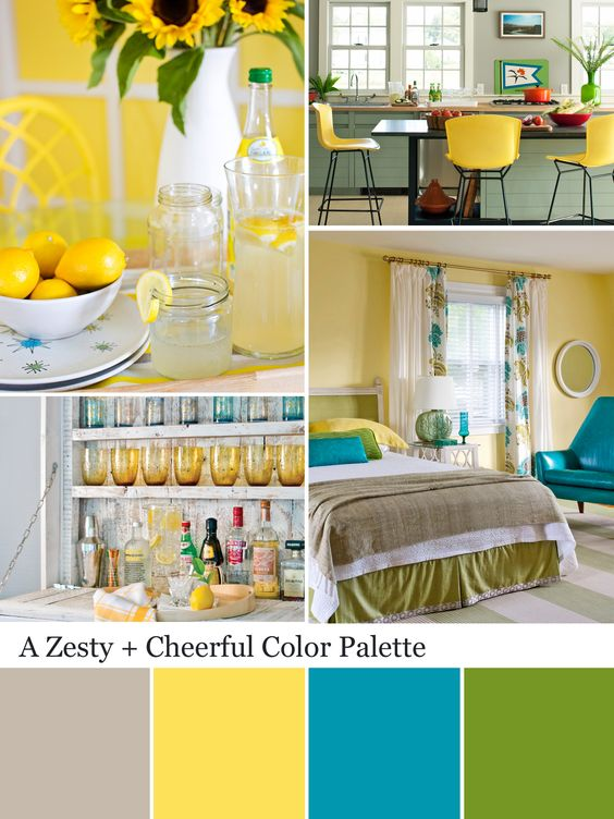 Yellow color palette yellow color schemes kitchen for Yellow kitchen colors