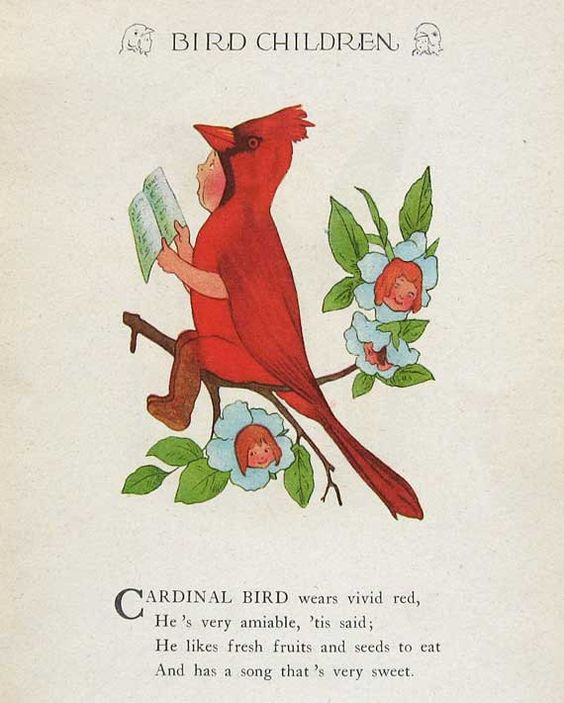 1930's Bird Children Illustration Print w Verse by M T Ross, Cardinal