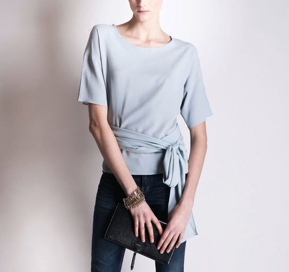 ANNE VALÉRIE HASH Cross Wrap Light Blue Blouse