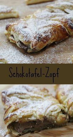 Leckerer Zopf mit Schokolade #zopf #Schokolade #Blätterteig #Kaffeezeit #Recipe #backen