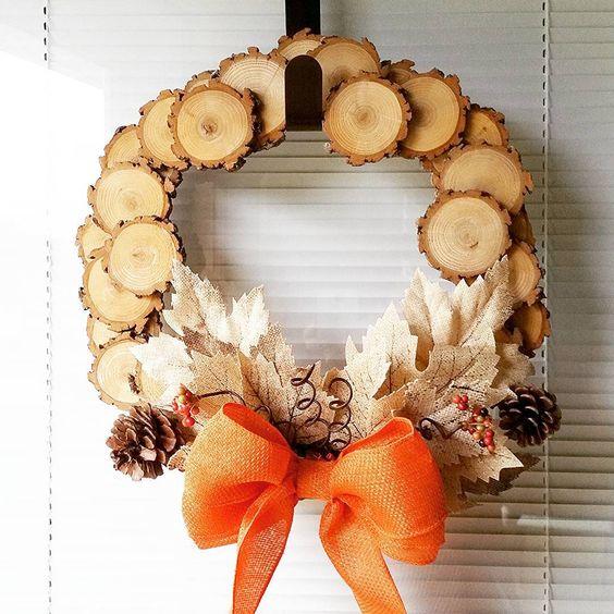 Cute wood slice wreath holidays pinterest lesy a věnce