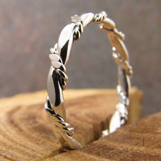 Flat and Double Twisted Rope Stacking Ring by DogsKinJewelry on Etsy https://www.etsy.com/listing/64535651/flat-and-double-twisted-rope-stacking