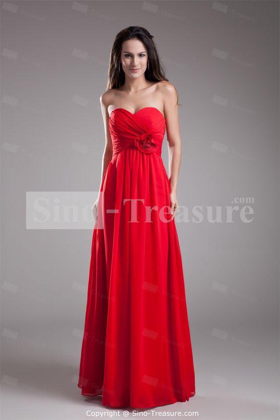 Summer Bright Red Chiffon Sweetheart Floor-length Bridesmaid ...