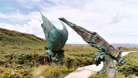 picture L'Anse Aux Meadows historic sites in Canada. This artwork depicts the intersection of the Vikings and the natives.