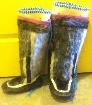 Inuit made child's sealskin kamiks by Elisapie Nauyuk