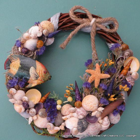 Golden Purple sea shell beach wreath by CarmelasCoastalCraft
