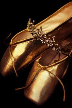 golden ballet slippers
