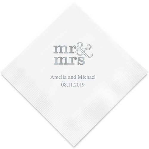 Standard Mr And Mrs Personalized Printed Wedding Napkins 3 Etsy Wedding Cocktail Napkins Printed Napkins Printed Napkins Wedding