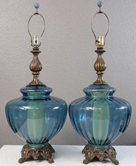large 14 wide aqua blue glass swag table lamp pair. Black Bedroom Furniture Sets. Home Design Ideas