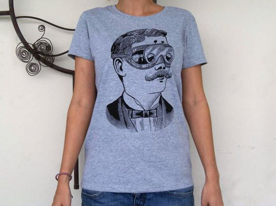 Vintage Retro Moustache Womens Screen Printed by SamsaraPrints, $18.00