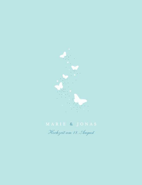 Hochzeitseinladung Schmetterlinge (4 Seiten) by Tomoë #Türkis #Butterfly #Hochzeit