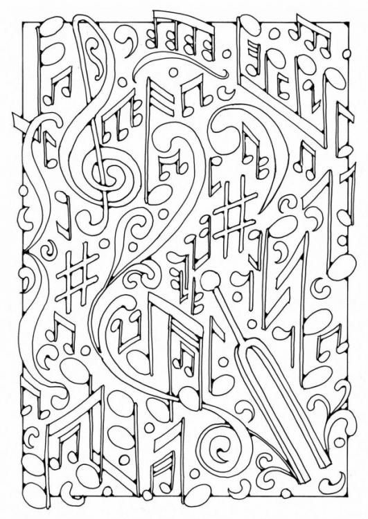 Very Difficult Music Coloring Pages For Adult
