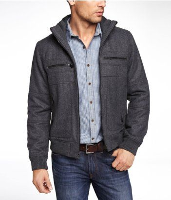 Men&39s jacket WOOL BLEND BOMBER JACKET | Express. I like this. Drew