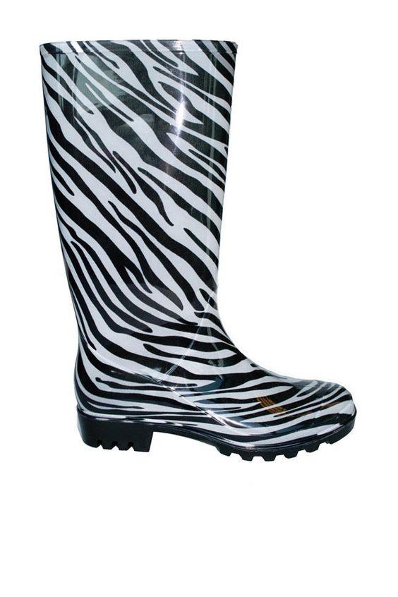 Zebra Print Rain Boots