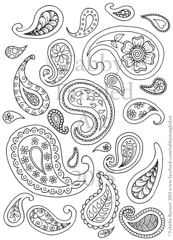 Paisley Fun Adult Coloring Page by TabbysTangledArt on Etsy
