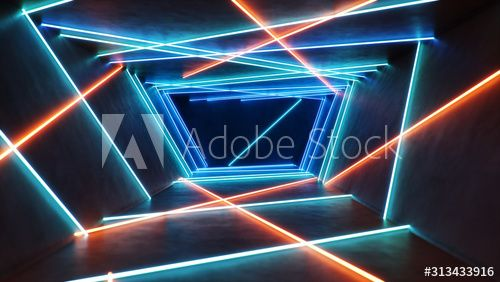 Abstract Blue And Red Interior With Neon Light Fluorescent Lamp Futuristic Architecture Background 3d I In 2020 Architecture Background Futuristic Architecture Neon
