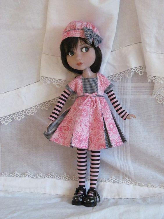 "Patience Tonner 14"" BJD fashion pink & black OOAK Dress set by JEC #DollClothingAccessories"