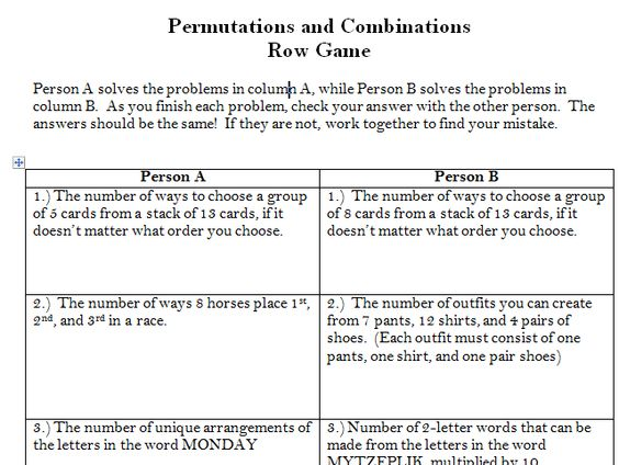 permutations and combinations worksheets laveyla – Permutations and Combinations Worksheet