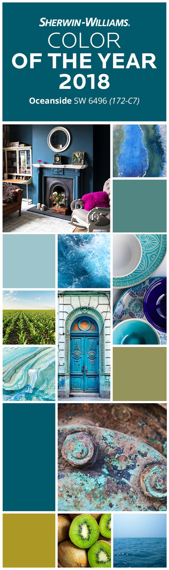 When we dream of the ocean, we dream in blue. Gentle, powerful, soothing, this hue brings calmness, peace and an undeniable desire to relax and have fun. Want that same vibe in your house? Dive into our Color of the Year 2018, Oceanside SW 6496. Then pair it with hues like Lagoon SW 6480, Agua Fria SW 9053, Tansy Green SW 6424 and High Strung SW 6705 to create a colorful getaway you don't have to leave home for.