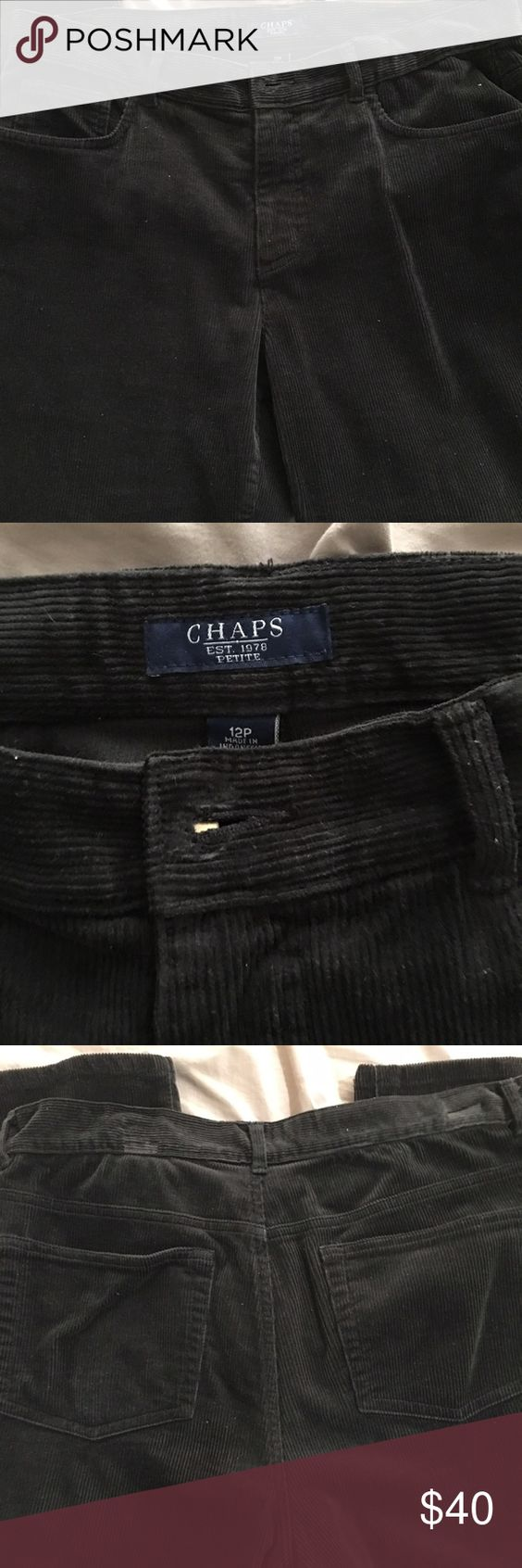 Chaps Brown Corduroy Pants Women's Chaps Corduroy Pants in dark brown Straight Leg. Size 12 Petite. Good condition. Zipper and button intact to close Pants. Pants have belt loops and two pockets on the front and back. Offers accepted. Chaps Pants Straight Leg