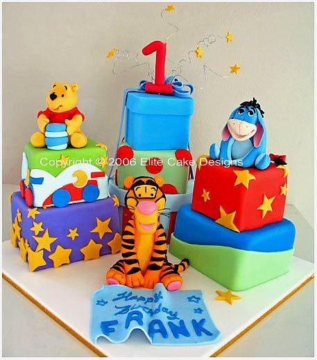 , Winnie The Pooh, Piglet, Eeyore Cake - Birthday Cakes, 1st Birthday ...