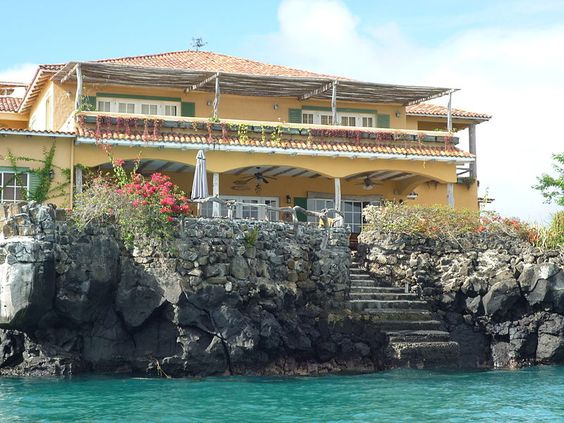 Building on Puerto Ayora Island on the Santa Cruz in the Galapagos Islands in Ecuador