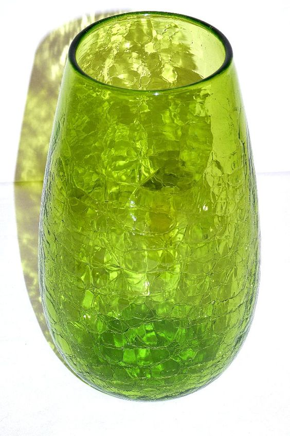 Vintage Blenko Blown Crackle Glass Vase In Olive Green
