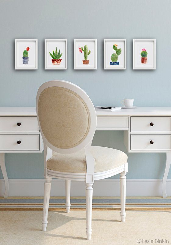 Watercolor Cactus set, SET OF 5, cactus art, cactus painting, flower painting, succulent print, crochet cactus, print set: